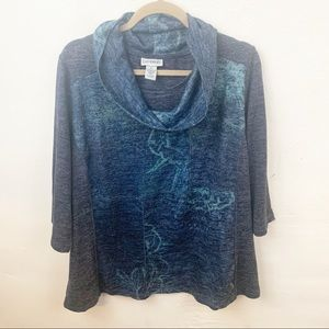 Catherine's l Plus Size Blue Cowl Neck Printed Top